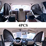 ZATOOTO Car Side Window Sunshades - Magnetic Privacy 4 Pcs Front Rear Protection Sun Shades Curtain Keeps Cooler for Kids Sleeping