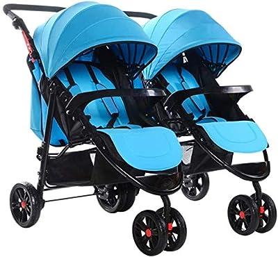 LAMTON Doble Doble bebés y niños pequeños, cochecito de bebé Fácil Foldpurple estrella (Color : Azul)
