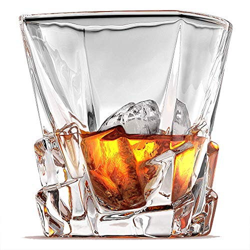 Ashcroft Crystal Iceberg Whiskey Glass Set, High End Whiskey Glasses Set of 2, Best Whiskey Glasses, Scotch or Bourbon Glasses. Large Premium 10oz Leadfree Glassware Tumblers with Luxury Giftbox