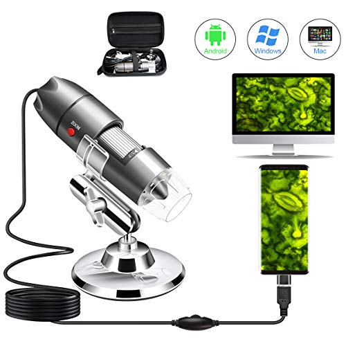 USB Microscope Camera 40X to 1000X, Cainda Digital Microscope with Metal Stand & Carrying Case Compatible with Android Windows 7 8 10 Linux Mac, Portable Microscope Camera for Kids Students Adults