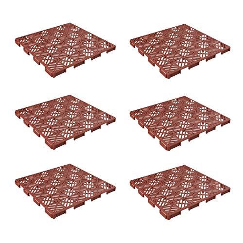 """Pure Garden 50-147 Interlocking Tiles-Multipurpose Indoor/Outdoor Flooring 11.5 x 11.5"""", Set of 6 (Terracotta)"""