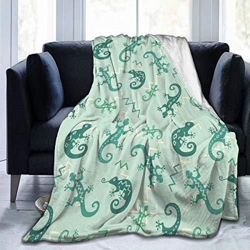 Qing_II Manta de forro polar con diseño de lagartos y camaleones afroamericanos que saltan de la naturaleza, para guardería, de franela, para invierno, suave, cálida, para cama, sillón, oficina, 127 x 165 cm