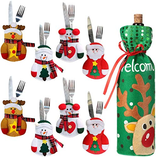 Fiyuer Bolsas para Cubiertos de Navidad 9 Pcs Tenedores Bolsa Muñeco de Nieve Bolsas para Botellas de Vino para Decoracion de Mesa Adornos Navideños