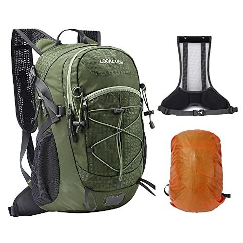 LOCAL LION Wanderrucksack Fahrradrucksack 20L Reiserucksack mit Regenschutz Tragegestell Rückbelüftung für Herren und Damen wasserabweisend zum Radfahrren Wandern Reisen
