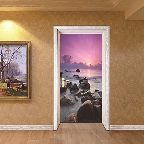 Wnyun Deur Stickers DIY Zelfklevende Zonsondergang Zee Decals Landschap Muurschildering 3D Waterdicht Papier Poster voor Print Kunst Foto's Home Decoratie 95x215cm