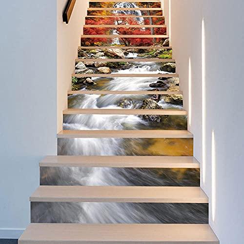 Cascada Río Escalera Etiqueta Escaleras Decoración Patrón Pasos Piso Casa Escaleras Arte Calcomanías Autoadhesivas DIY PVC Wallpaper-18cmX100cmX13pcs
