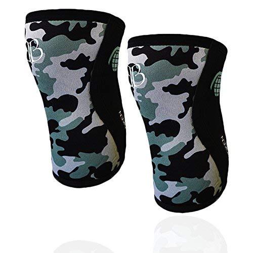 Ginocchiere CAMO 2.0 BANBROKEN - 5 mm Knee Sleeves - Crossfit, Allenamento Funzionale, Sollevamento Pesi, Weightlifting, Running, Altri Sport. Compressione/Ottimo Supporto. 1 PAIO (L)
