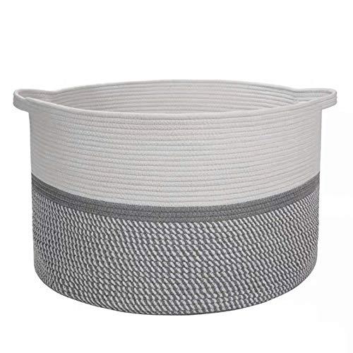 QWWR Cesta de almacenamiento extra grande, 38 x 33 cm, cesta decorativa de cuerda de algodón tejida con asas, cesta de lavandería, cesta de manta, cesta de guardería para sala de estar