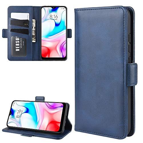 La selección de Cici For Xiaomi redmi 8 Doble Hebilla de Caballo Loco de Negocios del teléfono móvil de la pistolera con Tarjeta de la función del Soporte Wallet (Negro) (Color : Blue)