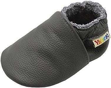 YangBaby - Patucos de Piel para niño, color gris, talla 12-18 Monate