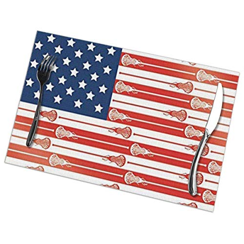 Nonebrand Usa Lacrosse Sticks Flag waschbare Tischsets für Esstisch Doppelgewebe Druck Polyester Tischsets für Küche Tischunterlage 30,5 x 45,7 cm