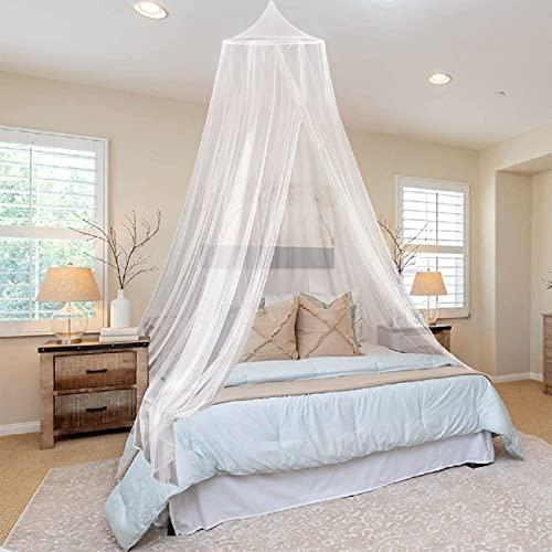 mosquitera Cama,Universal White Dome Malla de mosquitera Red Instalación fácil Cama Colgante Canopy Netting,Mosquiteras Ligeras paraViaje,Cama de Matrimonio,Cama Individual,Cunas o Cama para Infantil