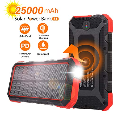 Solar Charger 25000mAh Sendowtek PD 18W Solar Power Bank 7.5W/10W Qi Wireless...