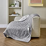 Bedsure Electric Heated Blanket Throw - 6 Heating Levels & 4 Hours Auto Off Heating Warming Blanket with ETL Certificated, 50' x 60', Light Grey