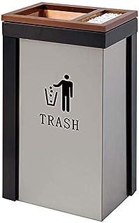 ZXJshyp Outdoor Trash Can Black Gold Fashion Ash Bucket KTV Bank Trash Can Four Drill Angle Straight Throw Trash Can Metal...