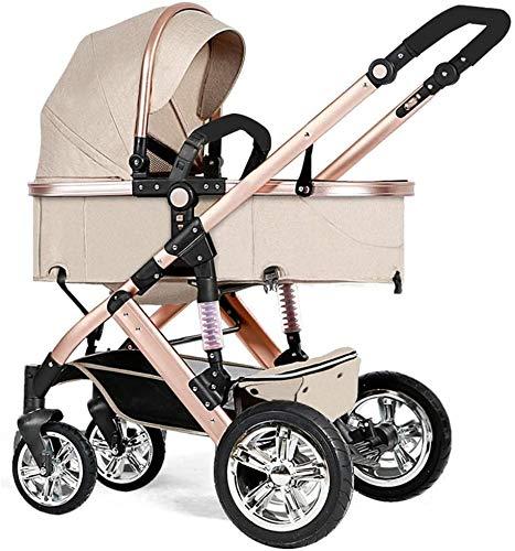 YZPTD Carrito de bebé, Cochecito de Cochecito Compacto Convertible, cochecitos de Cochecito Plegable Anti-Shock, arnés de 5 Puntos y Cesta de Alto Almacenamiento (Color: marrón)