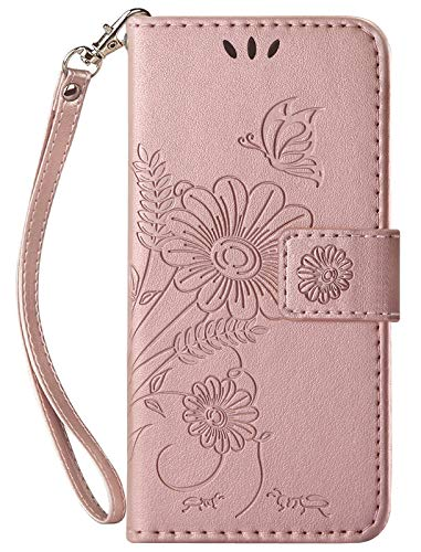 kazineer Funda para Samsung Galaxy S7, funda de piel para teléfono móvil Samsung Galaxy S7, funda tipo cartera (oro rosa)