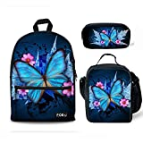 FOR U DESIGNS Canvas Backpack Blue Butterfly Children Girls School Book Bags Set with Lunch Bags Pencil Case
