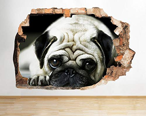D763 Pug Dog Animal Pet Cute Kids Smashed Wall Decal 3D Art Stickers Vinyl RoomLarge