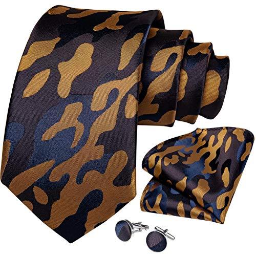 WOXHY Cravate Homme Design de Mode Mariage Camouflage Cravate en Soie pour Hommes Hanky Bouton de Manchette Cadeau Cravate Ensemble fête d'affaires