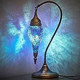 (10 Colors) DEMMEX Turkish Moroccan Handmade Colorful Mosaic Boho Swan Teardrop Table Desk Bedside Night Accent Mood Lamp Lampshade, 19' (Ocean Gem)