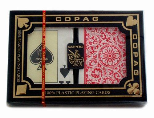 Copag Plastik Kartenspiele, 2 Poker Size Decks im Etui mit original Copag Cut Card
