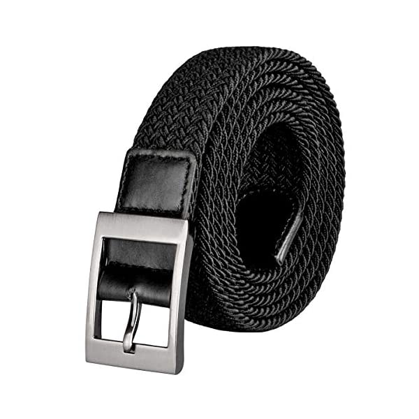 Drizzte Mens Belt Plus Size 47inch to 71inch Extra Long Stretch Belts Elastic Braided Woven Waist Belt Black