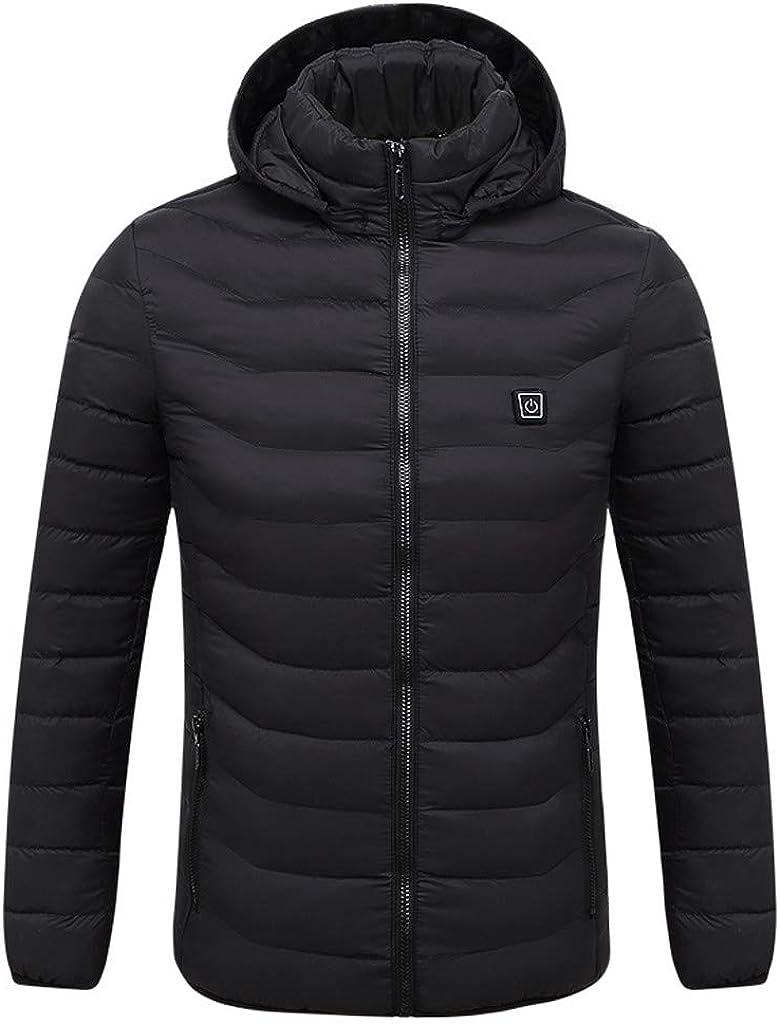 DIOMOR Outdoor Smart USB Electric Heating Warm Hooded Puffer Jacket Down Coat for Men Hiking Waterproof Anoraks Parkas