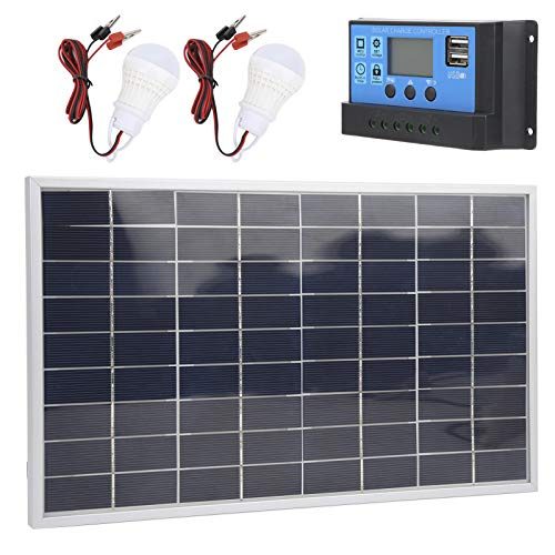 Panel Solar policristalino de 15W 18V Tasa de conversión del 21% + Controlador Solar PWM de Doble USB 12V / 24V + Bombilla LED de 2 uds para vehículos recreativos y Barcos Cargador de batería(