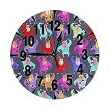 掛け時計 ゴリラ レッド パープル 大文字 連続秒針 静音 壁掛け時計 置き時計 直径25cm