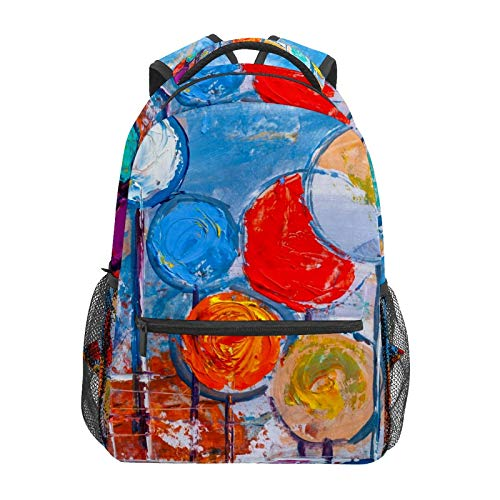 School Backpack Abstract Watercolor Doodle Lollipop Casual Travel Laptop Daypack Canvas Book Bags for Woman Girls Boys Student Adult Men