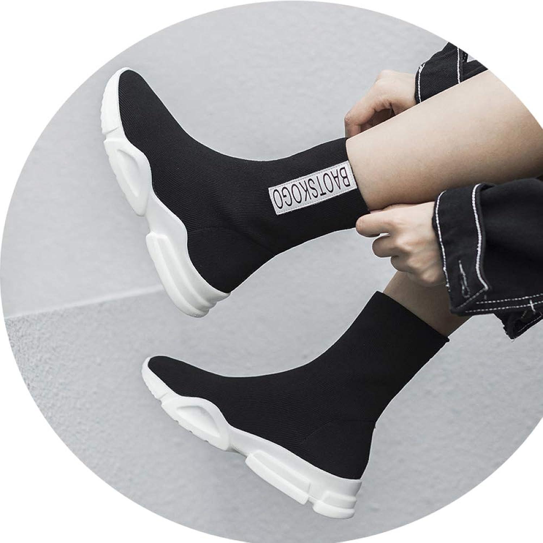 JZX Herbst- Und Winter-Stretch-High-Top-Damenschuhe, Sport- Und Freizeitstiefeletten, Freizeitstiefeletten, Flache, Flache Gewebte Plattform Und Bequeme Schuhe