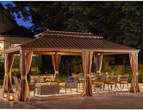 YOLENY 12' X 20' Hardtop Gazebo Galvanized Steel Outdoor Gazebo Canopy Double Vented Roof Pergolas Aluminum Frame with Netting and...
