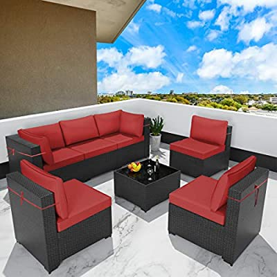 Gotland All-Weather 7 Pieces Patio Sofa Rattan Outdoor Furniture Sets Handwoven Wicker Patio Dining Conversation Sectional Set with Coffee Table & 6 Thickened Cushions (Black PE Rattan,Red Cover)