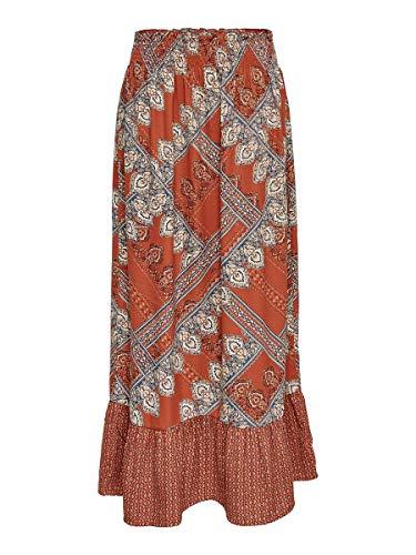 ONLY Damen Onldiana Maxi Skirt WVN Rock, Mehrfarbig (Arabian Spice AOP: Scarf Print), (Herstellergröße: 40)