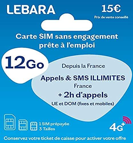 Tarjeta SIM + Llamadas y SMS ilimitados de Francia + 2 Horas a 43 destinos + 12 GB + 3 GB de Regalo.