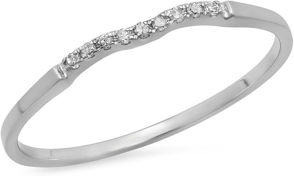 0.05 Carat (ctw) 14K Gold Round White Diamond Anniversary Ring Wedding Guard Band