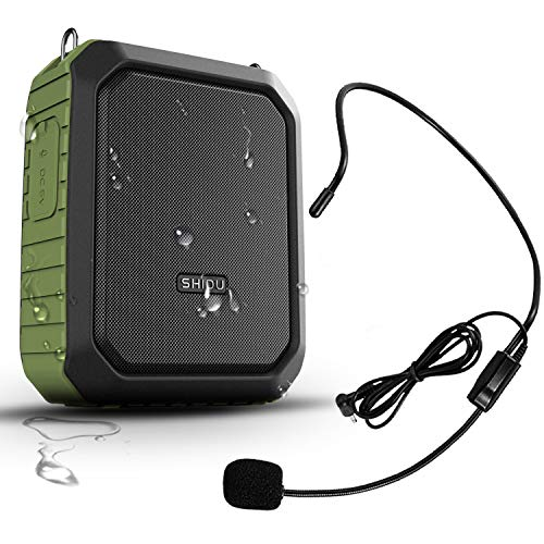 Portable Personal Waterproof Voice Amplifier Wired Headset Microphone Small Bluetooth Pa Speaker 18W 4400mAh Rechargeable Wearable Mic System for Teachers or Outdoors (Wired Version)