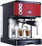 Máquina de café de YQGOO Cafetera de cappuccino, semiautomática, 1 – 2 tazas, sistema de salida de 15 barras, 1,7 L, 1450 W, eficiente, para la oficina, el hogar