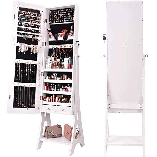 N \ A Schmuckschrank stehend, Spiegelschrank, Schmuckschrank Standspiegel Make-up, großer Aufbewahrungsbehälter Organizer mit Schubladen, Weiss abschließbarer Schrank einfacher Aufbau