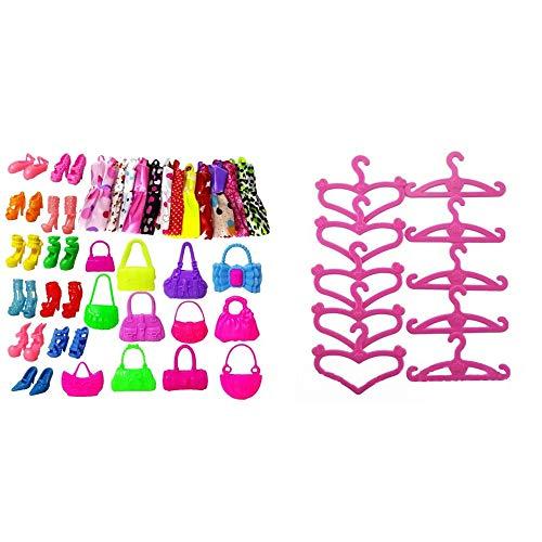 40 piezas de ropa de fiesta trajes de muñeca accesorios para zapatos de vestir, bolsas de percha para niñas y niños fiesta regalos de cumpleaños
