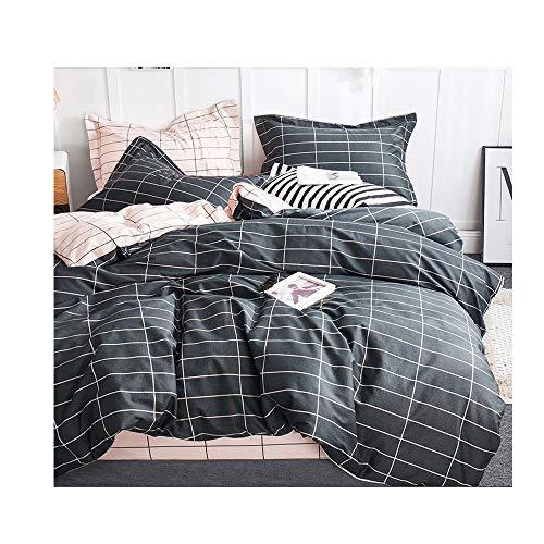 QWERTY Premium Jersey Spannbettlaken Spannbetttuch/Spannbetttücher Einfarbige/4-Teilige Bettlaken Set-rutschfest, Mit 2 Kissenbezügen (Color : Black, Size : 200x230cm+180x200cm)