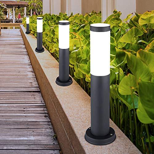 4er Set LED Außen Steh Lampen ANTHRAZIT Garten Beleuchtung Hof Einfahrt Edelstahl Sockel Leuchten