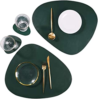 SUBEKYU Faux Leather Placemats and Coasters Set, Washable Round Table Mat, Waterproof Coffee Mats, Heat-Resistant Place Mat for Kitchen Dining Table (Green)