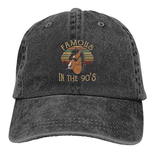 Bojack-Horseman-Famous-In-The-90-S- Unisex Vintage Washed Distressed Baseball-Cap Twill Adjustable Dad-Hat Black