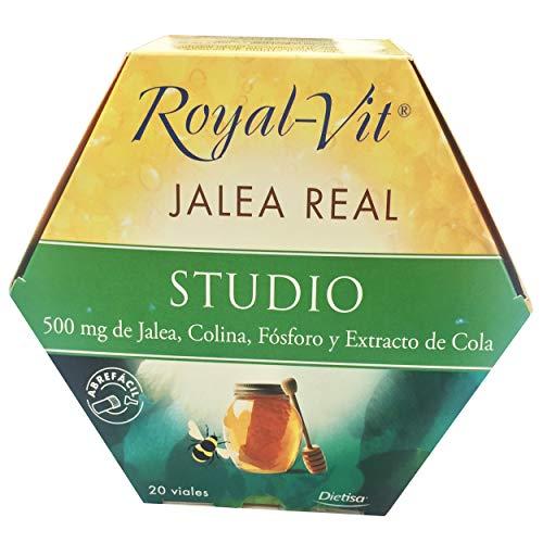 Royal-Vit Jalea Real Studio 20 Viales de 10 ml de Dietisa - Complemento Alimenticio con 500 mg de Jalea Real, Colina, Fósforo, Extracto de Cola y Vitamina B6 - Contribuye a la Concentración, la Buena Memoria y Ayuda a Disminuir la Fatiga