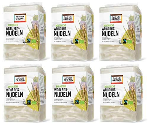 6 x 225 g Bio Thailändische Fairtrade Reisnudeln weiß | Weiße Reisnudel von Fairtrade Original | Glutenfrei | Sen Lek | ideal für vietnamesische Pho |