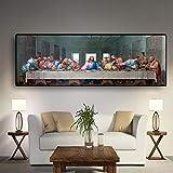 CHBOEN Moda Pittura Tela L'olio Ultima Cena di Leonardo da Vinci Famoso Dipinto Pittura Poster E Stampe Parete Immagini for Soggiorno Cucina Camera No Frame Tela (Size (inch) : 60x180cm)
