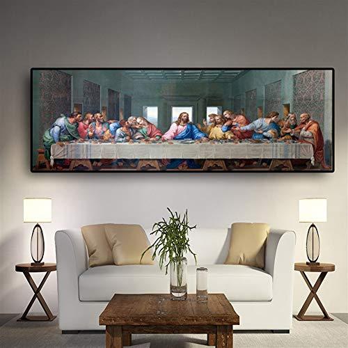 BPHMZ El Aceite Última Cena De Leonardo Da Vinci Famoso Pintura Cartel E Impresiones Cuadros De La Pared For Sala De Estar Cocina Sala No Frame Lienzo decoración de Pared (Size (Inch) : 30x90cm)
