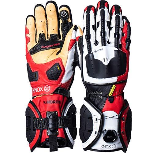 Knox Handroid - Guantes de Moto, Color Rojo